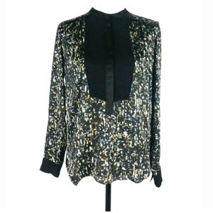 Rebecca Taylor abstract bib inset popover blouse